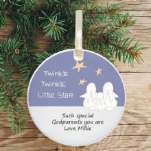Ceramic Godparents Keepsake Christmas Decoration - Twinkle Star Design